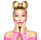 Beauty surprised fashion model girl with funny bow hairstyle - 81022026