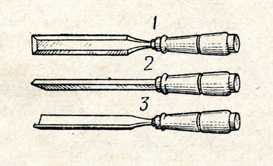 Firmer chisel (1), flat chisel (2), round chisel (3)