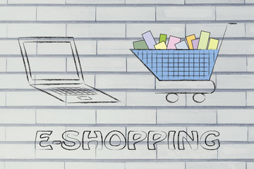 e-business and buying online: computer and shopping cart