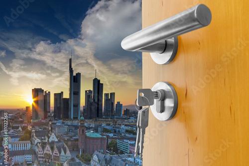 Leinwanddruck Bild Abendhimmel Skyline Frankfurt am Main