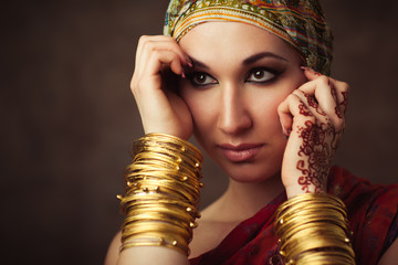 The quiet Indian woman in a headscarf