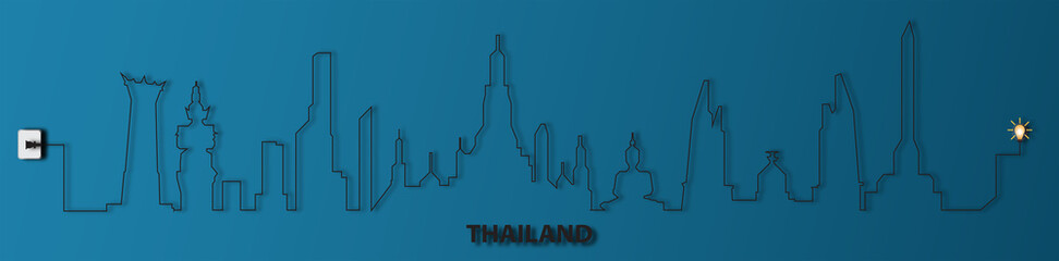 Thailand with socket,electricity,illustration