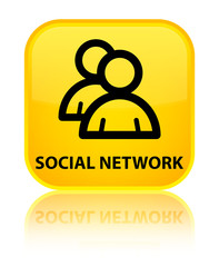 Social network (group icon) yellow square button