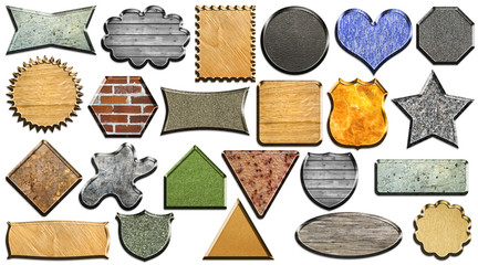 Set of different textured geometric shapes