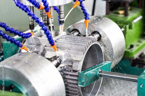 Leinwanddruck Bild drilling machine in factory workshop