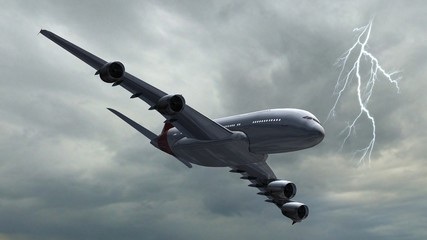 Airbus A380 Airplane - air to air - thunder and lightning