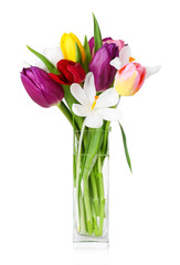 Fresh bouquet with tulips and crocus isolated on white