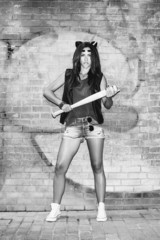 Bad sexy woman with baseball bat