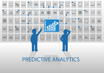 Two analysts analyzing predictive analytics dashboard