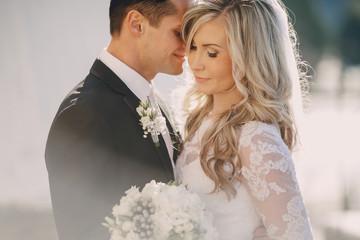 Wedding sunny weather and beautiful couple