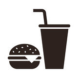 Fast food. Hamburger and drink icon