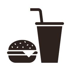 Fast food. Hamburger and drink icon
