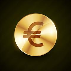 golden euro symbol coin shiny vector