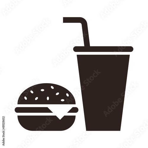 Fototapeta Fast food. Hamburger and drink icon