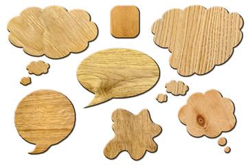 Set of wooden Speech Bubbles