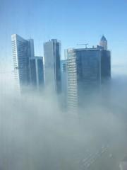 Fog covered Dubai skyline