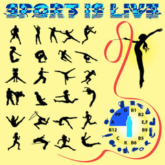 Vector silhouettes of different sports