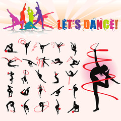 Vector silhouettes of artistic gymnastics