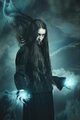 Dark witch calling thunder powers