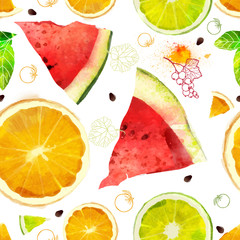 Fruit seamless pattern mixture of orange, lime, watermelon