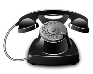 Black Vintage Telephone. Vector illustration