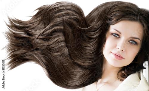 Leinwandbild Motiv portrait beautiful young woman brunette with healthy long shiny