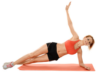 Woman doing exercises on a mat