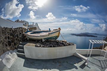 Old boat on the island of Santorini, Greece