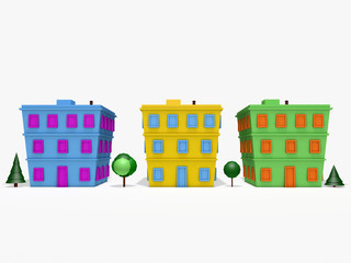 3D cartoon houses and trees