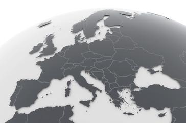 Erde Europa Länder - dunkelgrau hellgrau