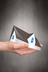 immobilien, Hand, Haus hintergrund