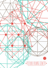 Simple background, poster with abstract geometric figures, lines