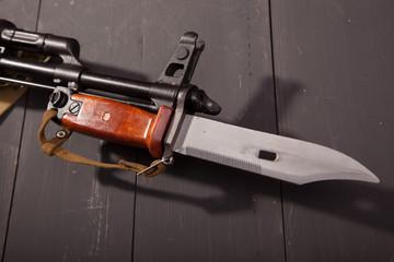 Rifle with a bayonet