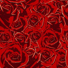 Seamless flowers pattern with roses