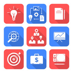 solid white color flat style creative business process icons set