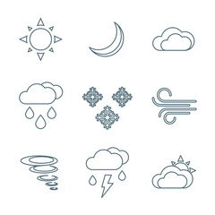 dark outline weather forecast icons set.