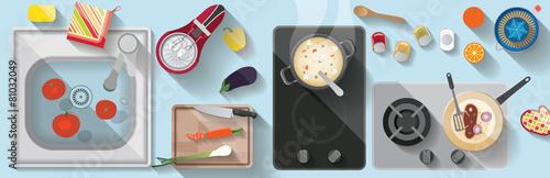 kitchen flat illustration - 81032049