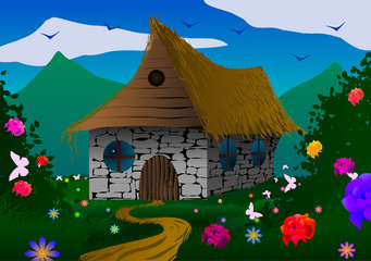 Fairy-tale house on a meadow with flowers and butterflies.