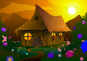 Fairy-tale house on a meadow with flowers