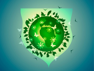 Earth Day and Ecology. Green Planet, under shield.