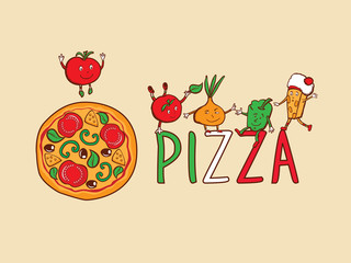 Sign, symbol for pizzeria. Pizza and funny vegetables.