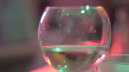 Glass of white wine, celebration at restaurant, alcohol at party
