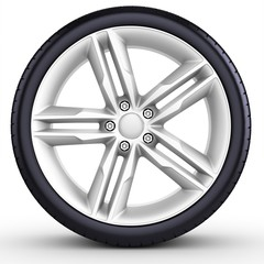 3d detailed car wheel with rim