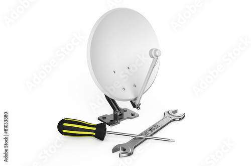 Satellite dish, service and repair concept - 81033880