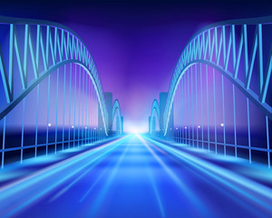 Bridge in the night. Vector Illustration.