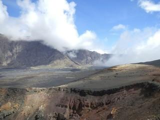 Volcanic landscape with black sand