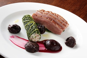plated duck breast meal