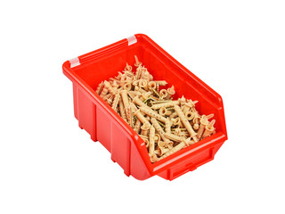 Screw and dowel in plastic box, isolated on the white background