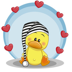 Duck with hearts