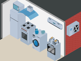 Household Icons appliances. Isometric Kitchen Appliances. Major